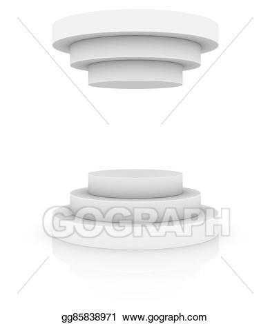 Podium clipart pedestal. Stock illustration round stage