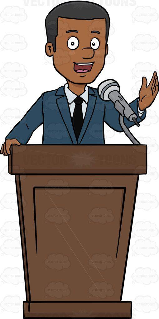 Podium clipart person. A male executive leading