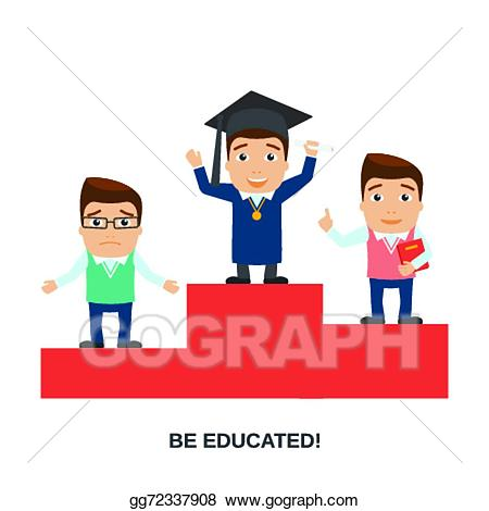 Eps vector education characters. Podium clipart winner student