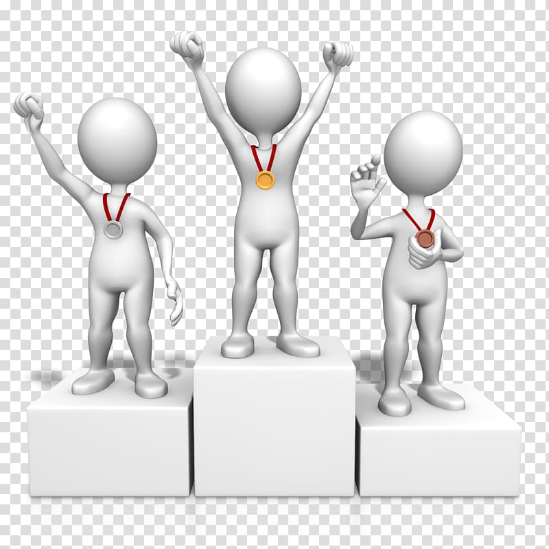 Three person with medals. Podium clipart winner student