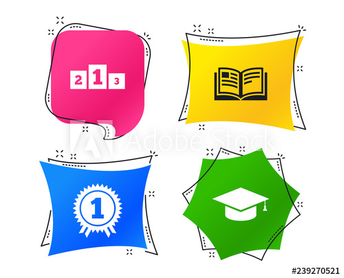 Graduation icons cap sign. Podium clipart winner student