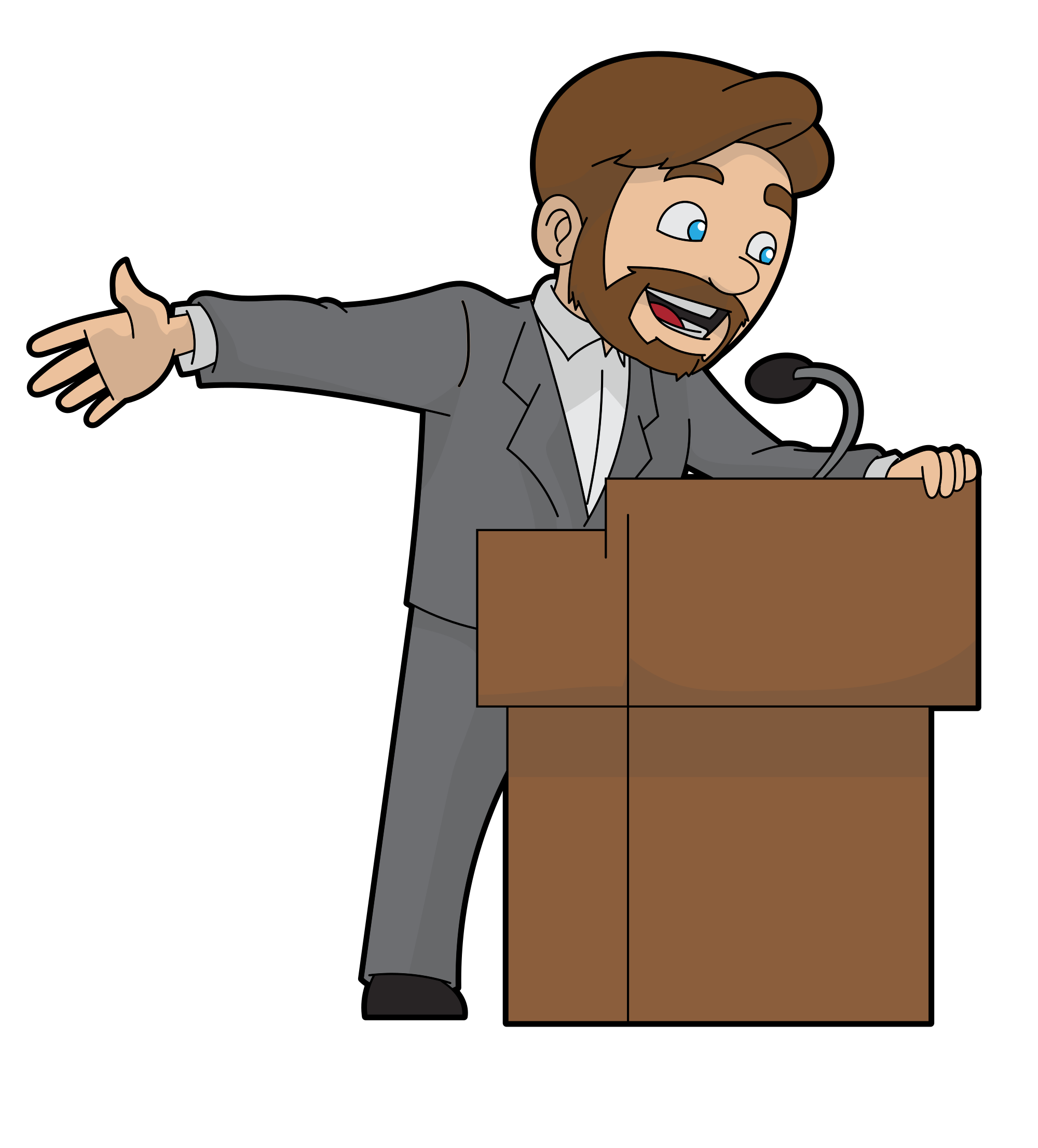 File cartoon man speaking. Podium clipart wooden
