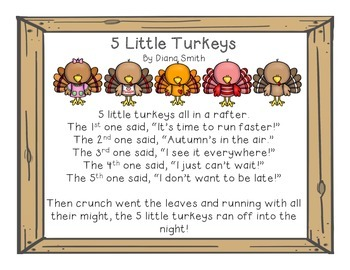 Poem clipart.  little turkeys and