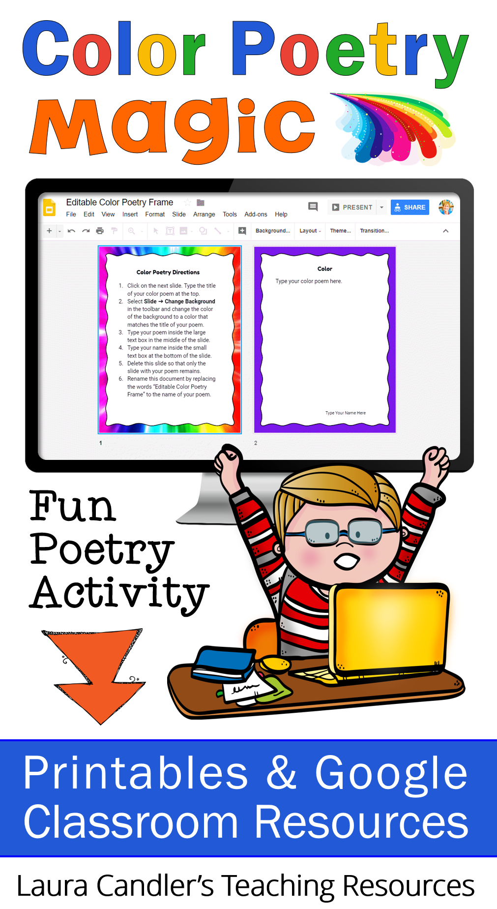 Color poems activity with. Poetry clipart editing writing