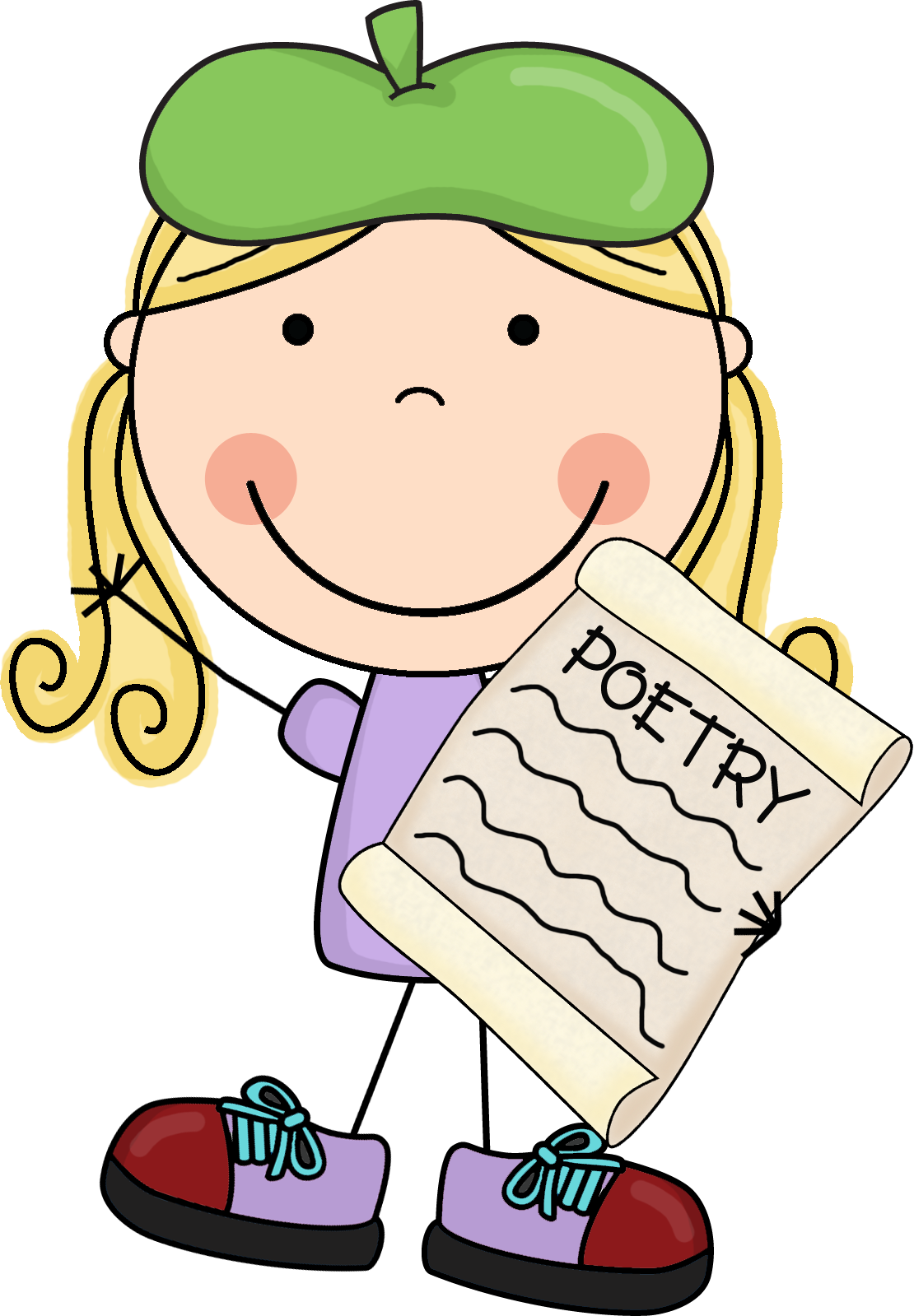 collection of reciting. Poetry clipart female poet