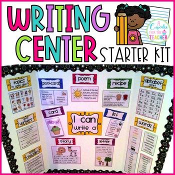 Writing center starter kit. Writer clipart morning work