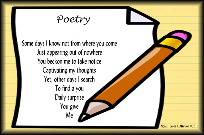 Leonas lines plus poem. Poetry clipart