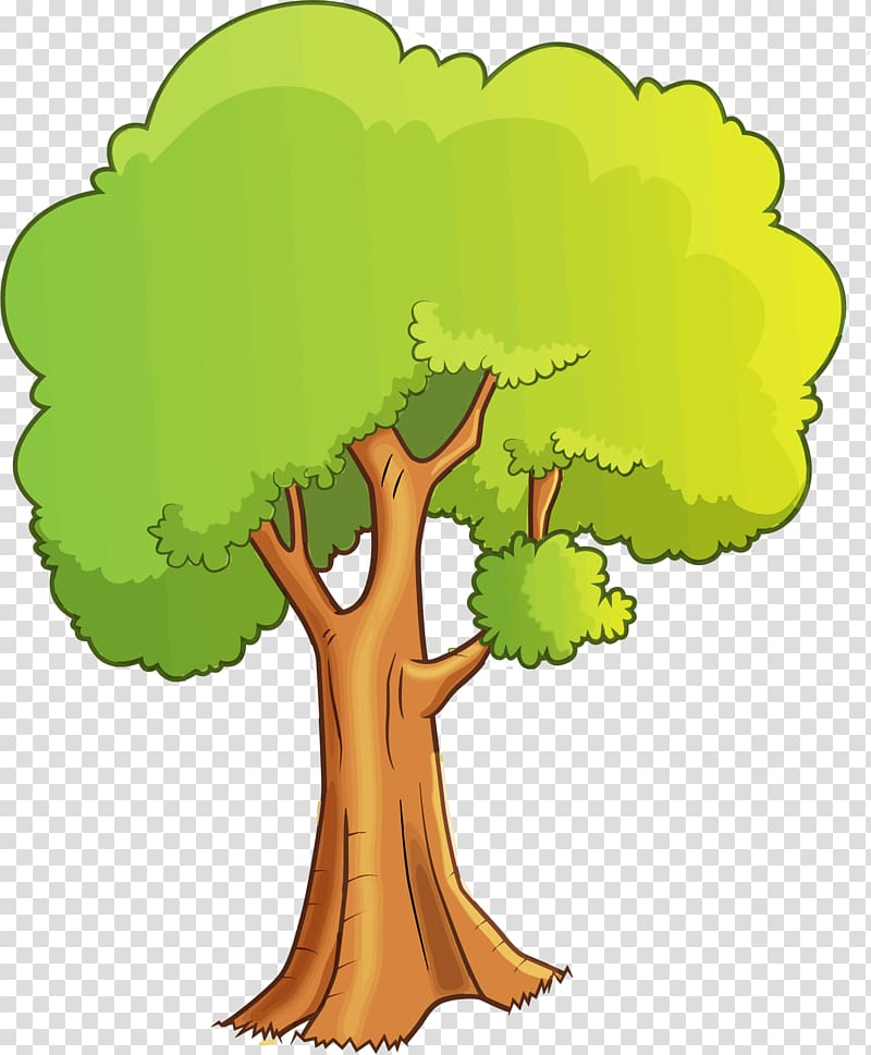 Green leafed illustration cartoon. Poetry clipart animated tree