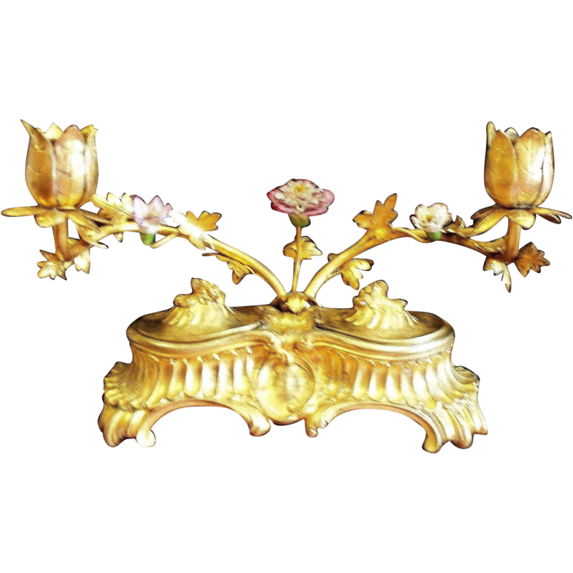 Antique french rococo gilt. Poetry clipart inkwell