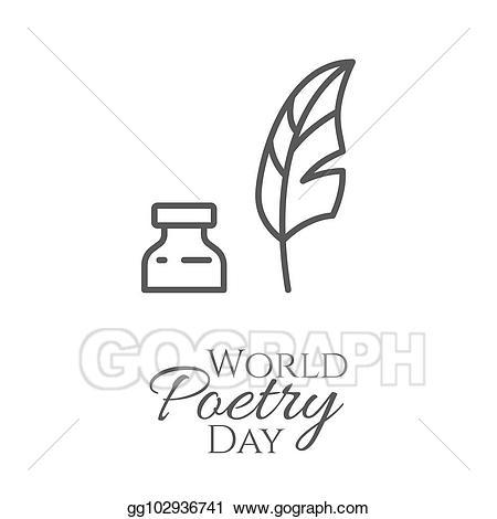 Eps vector world day. Poetry clipart inkwell