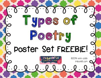 Poetry clipart narrative poetry. Types of poster set