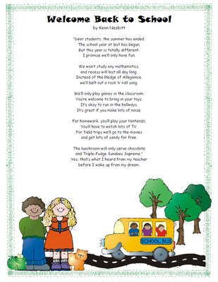 Free poem welcome back. Poetry clipart pencil
