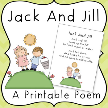 Jack and jill poem. Poetry clipart printable