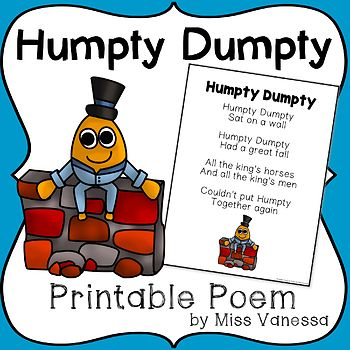 Humpty dumpty nursery rhyme. Poetry clipart printable