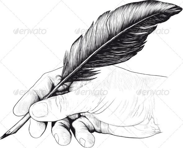 Poetry clipart vintage pen. Drawing of hand with