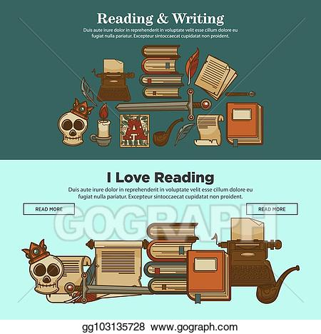 Vector illustration library reading. Poetry clipart vintage pen