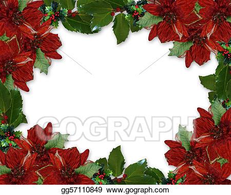 Poinsettia clipart banner. Christmas holly border stock