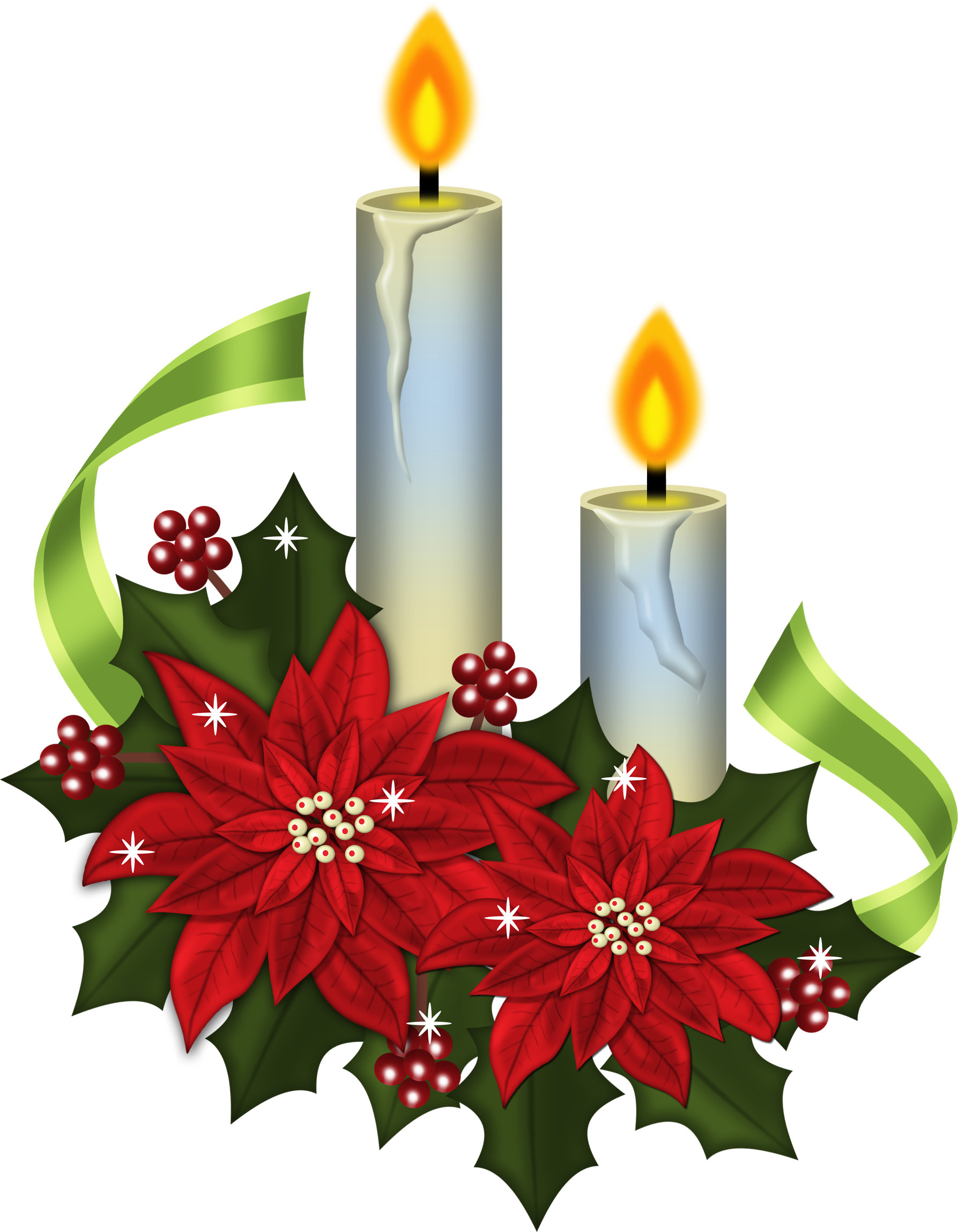 Candles i e dekupaj. Poinsettias clipart candlestick