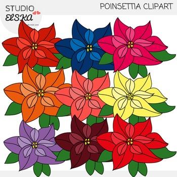 Poinsettia clipart design. Christmas by studio elska