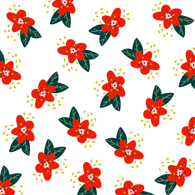 Floral flower red pattern. Poinsettia clipart design