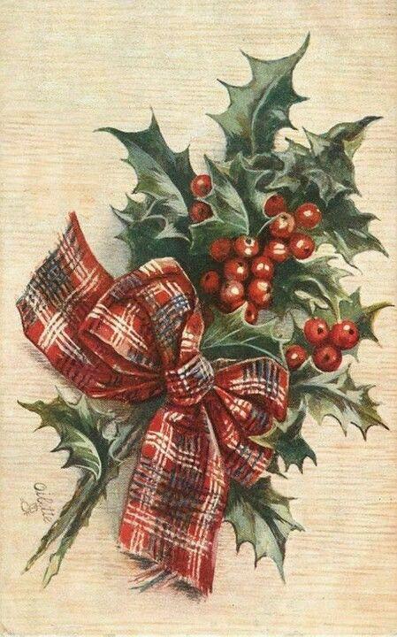 Vintage image christmas tartan. Poinsettias clipart holly bough