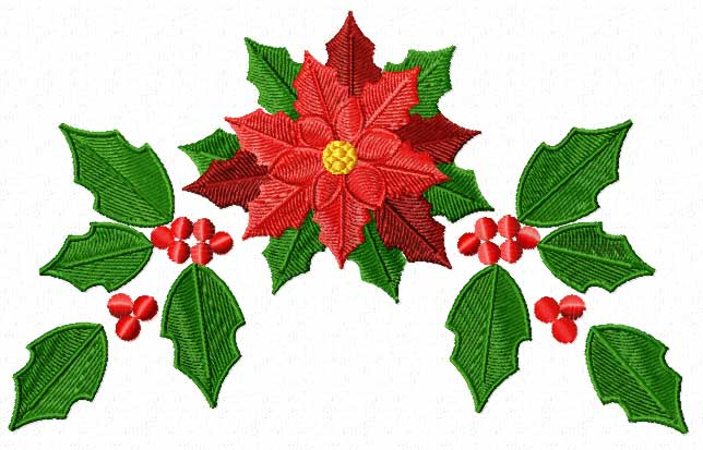 Poinsettias clipart leaf. Christmas motifs poinsettia machine