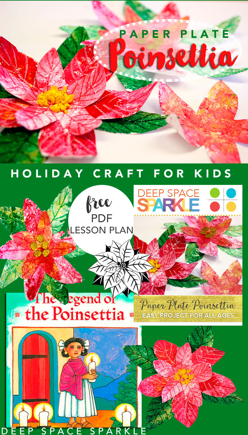 Poinsettia clipart paper plate. Holiday craft for kids