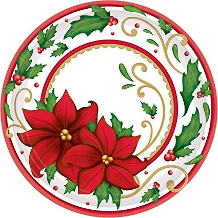 Winter botanical round christmas. Poinsettia clipart paper plate