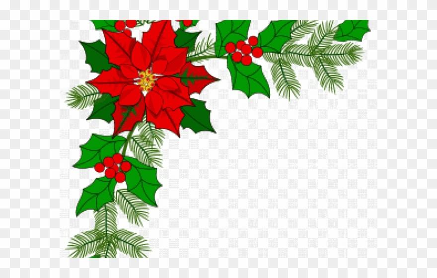 Poinsettia clipart poinsettia corner. Decoration christmas border gif