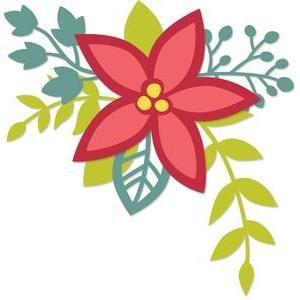 Poinsettias clipart single. Poinsettia sprig silhouette files
