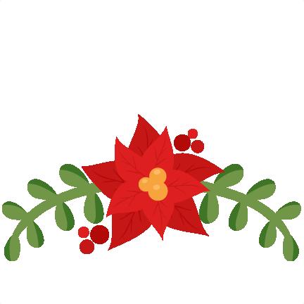 Christmas flourish scrapbook cut. Poinsettia clipart svg file free