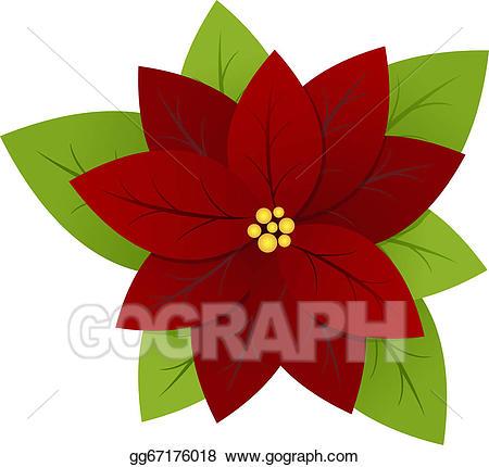Poinsettia clipart symbol. Vector stock illustration gg