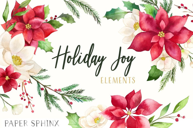 Christmas holiday joy florals. Poinsettia clipart watercolor