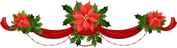 Transparent christmas garland with. Poinsettias clipart