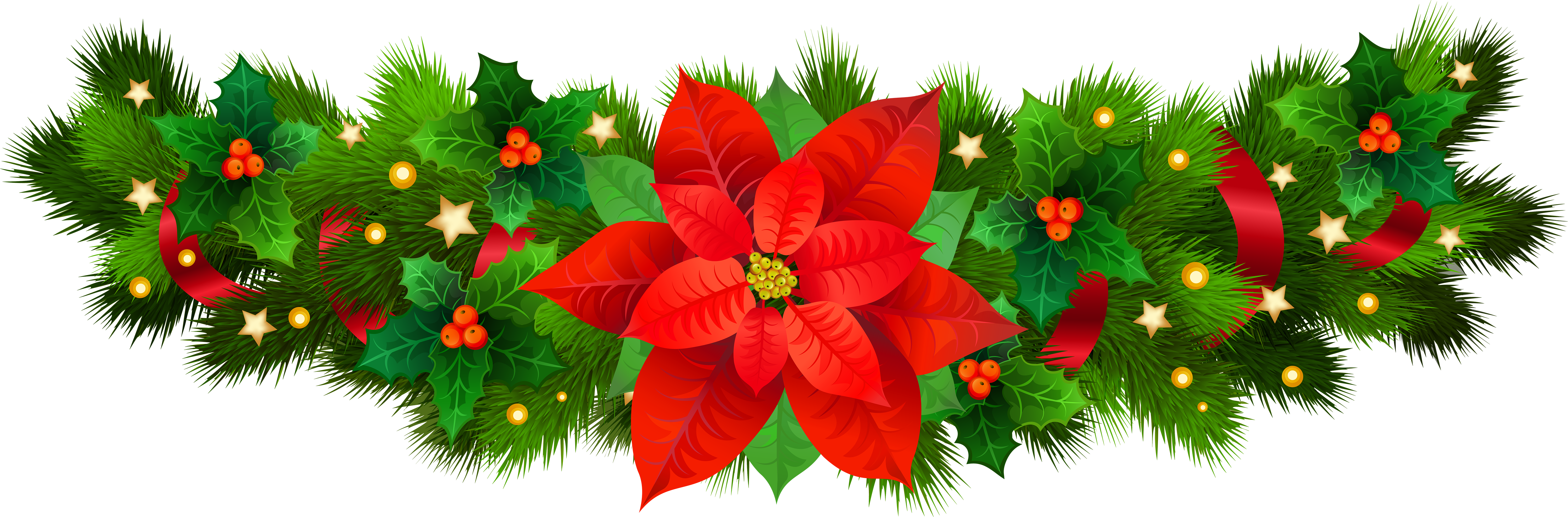 Christmas decorative with png. Holly clipart poinsettia