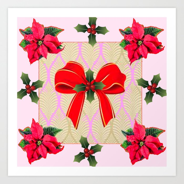 Poinsettias clipart bow. Red ribbon holly berries