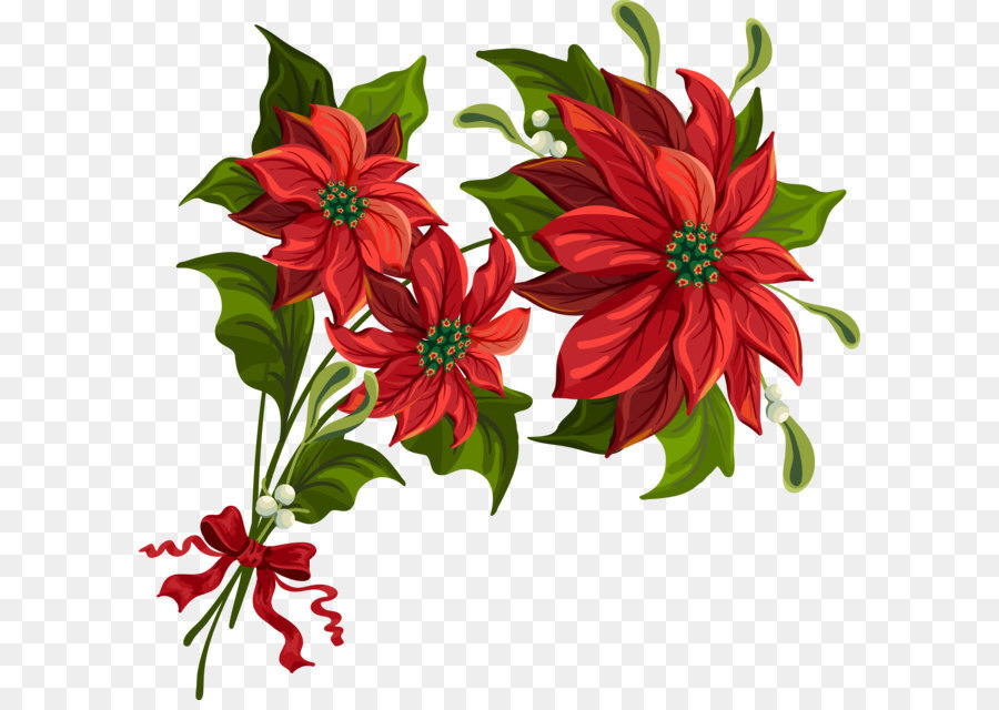 Poinsettias clipart bow. Christmas poinsettia png download