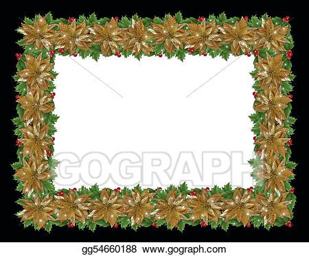Stock illustration christmas holiday. Poinsettias clipart gold