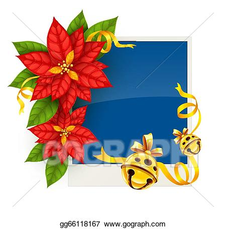 Poinsettias clipart gold. Vector illustration christmas greeting