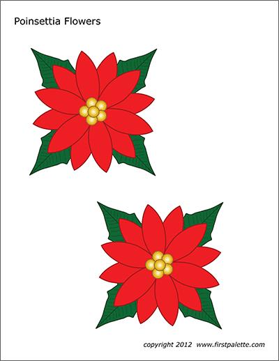 Poinsettia flowers free printable. Poinsettias clipart leaf