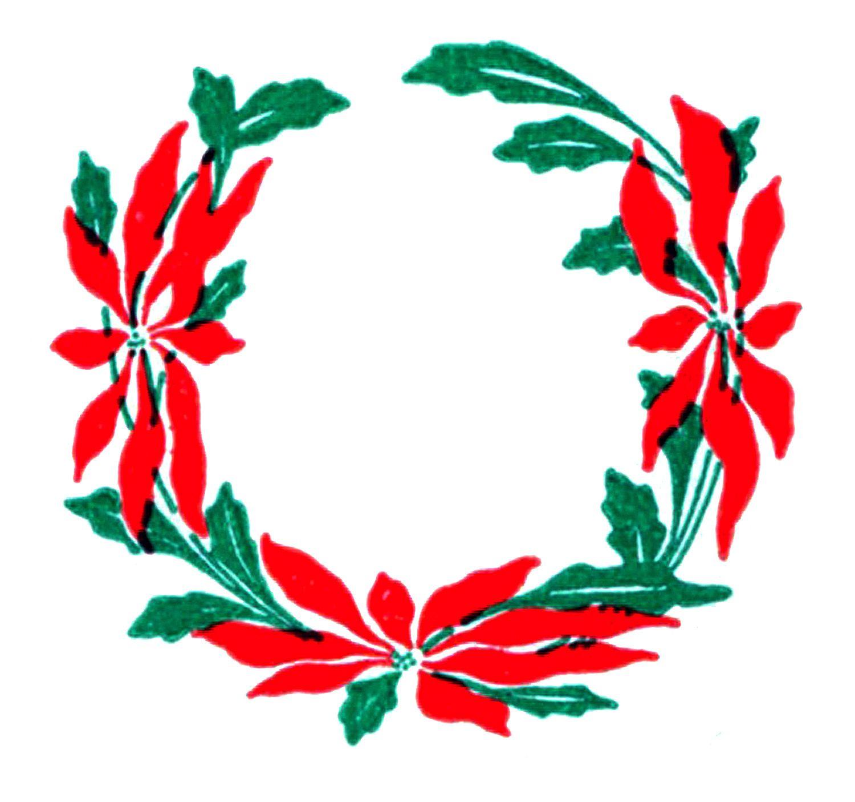 Pin on retr o. Poinsettias clipart poinsettia wreath