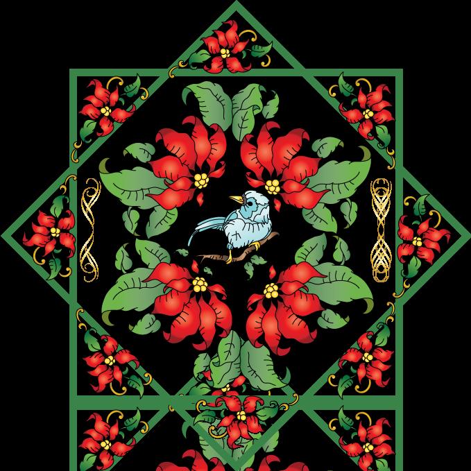 Winter birds and use. Poinsettias clipart single