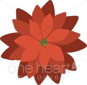 Red poinsettia christmas wedding. Poinsettias clipart single
