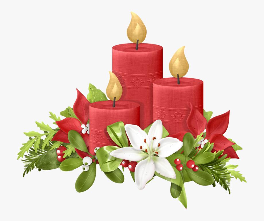 Poinsettias clipart vintage christmas candle.