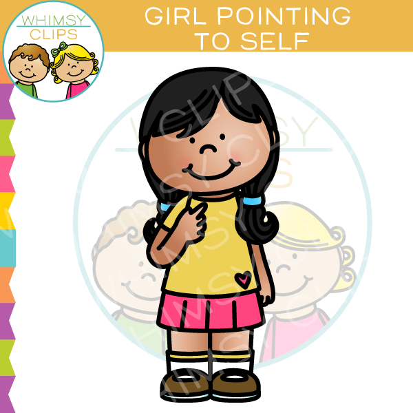 Pointing clipart. Girl to self clip