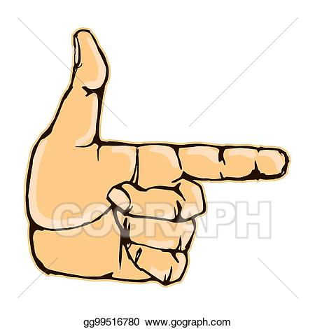Pointing clipart gesture. Vector stock realistic finger