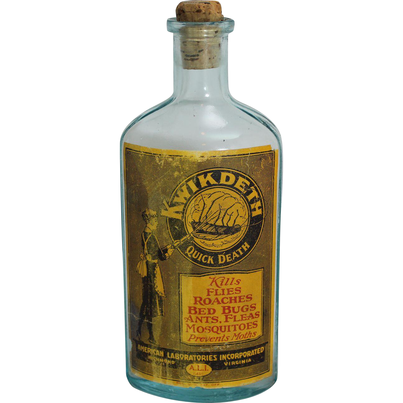 Vintage kwik deth bug. Poison bottle png