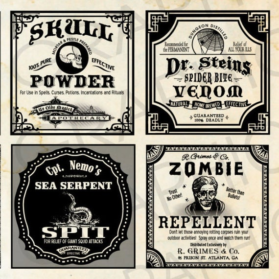 Square halloween witch labels. Poison clipart poison label