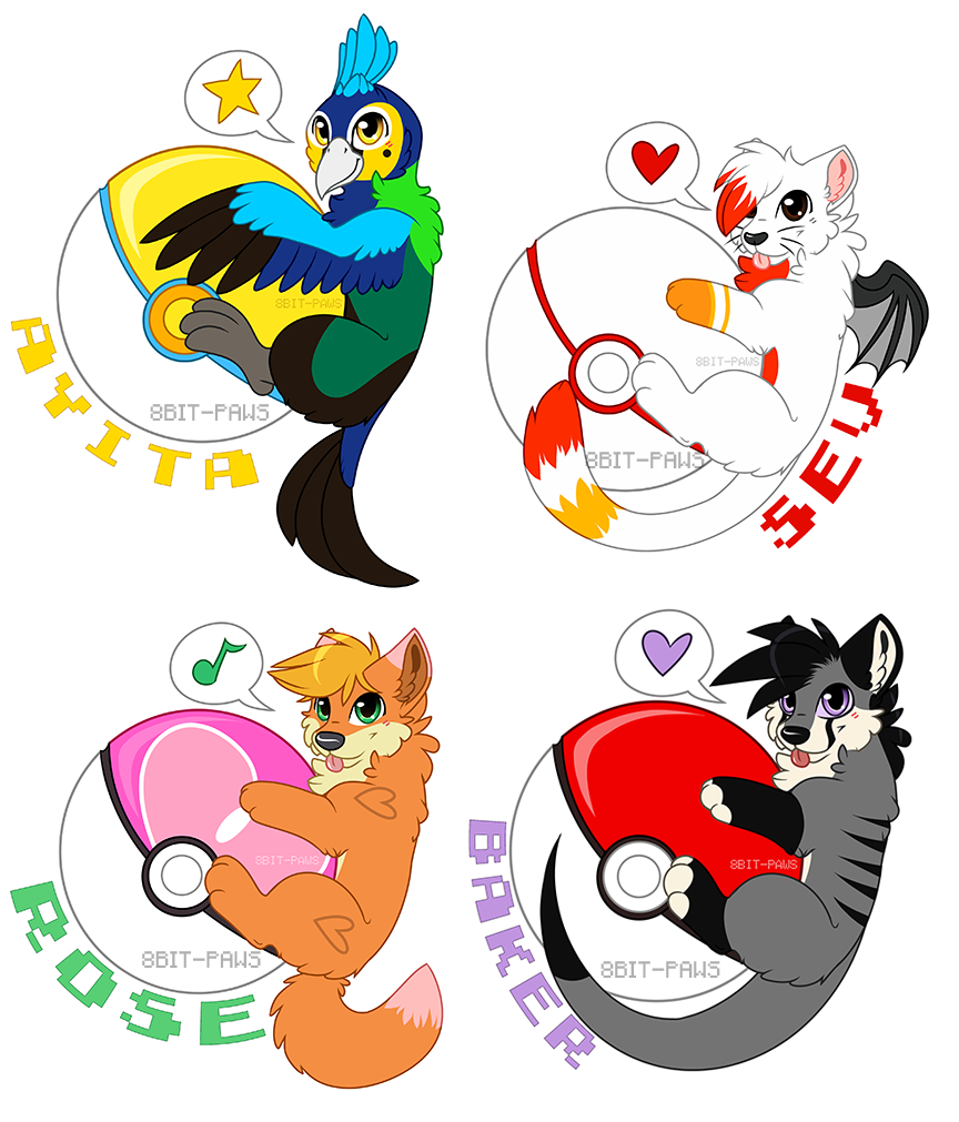 Pokeball clipart 8 bit. Badges commission batch by