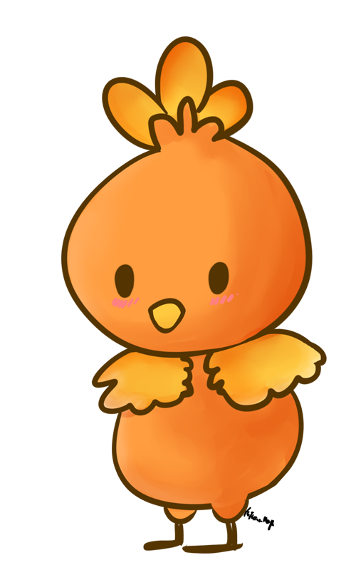 Torchic by the electric. Pokeball clipart chibi